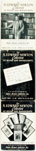 Books:Books about Books, [Book Collecting]. Rare Book Auction Catalog: The A. Edward Newton Collection of Books and Manuscripts, Parts 1-3. N... (Total: 3 Items)