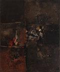 Post-War & Contemporary:Abstract Expressionism, JANNIS SPYROPOULOS (Greek, 1912-1990). Assini L, 1965. Oiland paper collage on canvas. 25-1/2 x 21-1/4 inches (64.8 x 5...