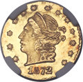 California Fractional Gold , 1872 25C Liberty Round 25 Cents, BG-816, R.6, MS65 NGC....