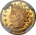 California Fractional Gold , 1876 25C Indian Round 25 Cents, BG-881, R.5, MS66 Prooflike NGC....