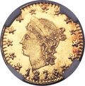 California Fractional Gold , 1876 25C Liberty Round 25 Cents, BG-854, Low R.5, MS66 ProoflikeNGC....