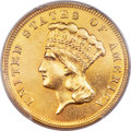Three Dollar Gold Pieces, 1877 $3 -- Smoothed -- PCGS Genuine. AU Details....