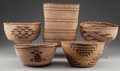 American Indian Art:Baskets, FIVE NORTHERN CALIFORNIA TWINED BASKETRY ITEMS... (Total: 5 Items)