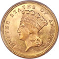 Three Dollar Gold Pieces, 1879 $3 MS64+ PCGS. CAC....