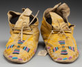 American Indian Art:Beadwork and Quillwork, A PAIR OF SOUTHERN ARAPAHO BEADED HIDE MOCCASINS... (Total: 2Items)