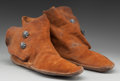 American Indian Art:Beadwork and Quillwork, A PAIR OF NAVAJO PAINTED HIDE MOCCASINS... (Total: 2 Items)
