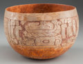 Pre-Columbian:Ceramics, A MAYA CREAMWARE BOWL WITH CARVED DEITIES. c. 400 - 600 AD. ...