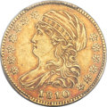 Early Half Eagles, 1810 $5 Small Date, Small 5, BD-2, R.6 -- Damage -- PCGS Genuine.AU Details....