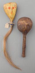 American Indian Art:Pipes, Tools, and Weapons, TWO (TESUQUE AND BLACKFOOT) RATTLES... (Total: 2 Items)