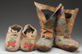 American Indian Art:Beadwork and Quillwork, TWO PAIRS OF PLATEAU BEADED HIDE MOCCASINS... (Total: 4 Items)