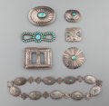 American Indian Art:Jewelry and Silverwork, SEVEN SOUTHWEST SILVER AND TURQUOISE ITEMS... (Total: 7 Items)