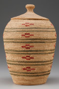 American Indian Art:Baskets, AN ESKIMO POLYCHROME COILED BASKET. Lena Smith...