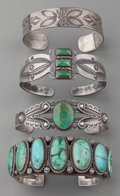 American Indian Art:Jewelry and Silverwork, FOUR SOUTHWEST SILVER BRACELETS. c. 1920 - 1940. ... (Total: 4Items)
