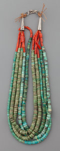 American Indian Art:Jewelry and Silverwork, A PUEBLO TURQUOISE AND CORAL NECKLACE. c. 1930. ...