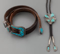 American Indian Art:Jewelry and Silverwork, TWO ZUNI SILVER AND TURQUOISE JEWELRY ITEMS. c. 1950. ... (Total: 2Items)