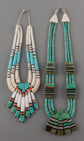 American Indian Art:Jewelry and Silverwork, TWO SANTO DOMINGO STONE AND SHELL NECKLACES. Donald Crespin. c.1980... (Total: 2 Items)
