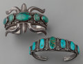 American Indian Art:Jewelry and Silverwork, TWO NAVAJO SILVER AND TURQUOISE BRACELETS. c. 1945... (Total: 2Items)