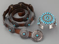 American Indian Art:Jewelry and Silverwork, TWO SOUTHWEST SILVER AND TURQUOISE JEWELRY ITEMS. c. 1980...(Total: 2 Items)