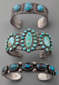 American Indian Art:Jewelry and Silverwork, THREE SOUTHWEST SILVER AND TURQUOISE BRACELETS. c. 1940... (Total:3 Items)