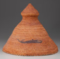 American Indian Art:Baskets, A NOOTKA PICTORIAL TWINED HAT. c. 1920...