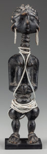 Tribal Art, AN UNIDENTIFIED AKAN PEOPLE FEMALE FIGURE. (LAGOONS AREA, COTED'IVOIRE, WESTERN AFRICA). ...