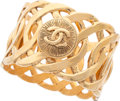 "Luxury Accessories:Accessories, Chanel Gold CC Bangle . Very Good to Excellent Condition .1.5"" Width x 2.5 Diameter. ..."