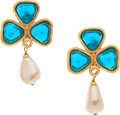 "Luxury Accessories:Accessories, Chanel Gold, Glass Pearl, & Blue Gripoix Earrings . VeryGood Condition . 2"" Length . ..."