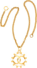 """Luxury Accessories:Accessories, Chanel Gold Necklace with CC Pendant . Very Good Condition .15"""" Length . ..."""