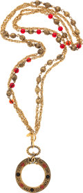 "Luxury Accessories:Accessories, Chanel Gold & Red Gripoix Magnifying Glass Necklace. VeryGood Condition . 17"" Length . ..."