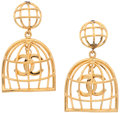 "Luxury Accessories:Accessories, Chanel Gold CC Logo Birdcage Earrings. Very Good to ExcellentCondition . 1.5"" Width x 2.5"" Height . ..."