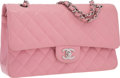 "Luxury Accessories:Bags, Chanel Pink Quilted Caviar Leather Medium Double Flap Bag withSilver Hardware. Good Condition . 10"" Width x 6""Height..."