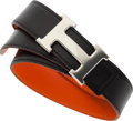 Luxury Accessories:Accessories, Hermes 75cm Black Calf Box & Orange H Swift Leather Reversible H Belt with Palladium Hardware. Very Good to Excellent Cond...