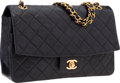 """Luxury Accessories:Bags, Chanel Black Quilted Lambskin Leather Medium Single Flap Bag withGold Hardware. Very Good Condition. 10.5"""" Width x7""""..."""