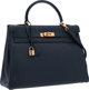 """Hermes 32cm Blue Marine Courchevel Leather Retourne Kelly Bag with Gold Hardware Very Good Condition 12.5"""" Width x..."""