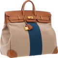 Luxury Accessories:Bags, Hermes Limited Edition 50cm Natural Barenia, Toile, & BlueCanvas HAC Flag Birkin Bag with Gold Hardware. Good to VeryGoo...