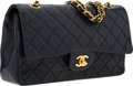 "Luxury Accessories:Bags, Chanel Navy Blue Quilted Lambskin Leather Medium Double Flap Bagwith Gold Hardware . Very Good Condition . 10"" Width..."