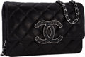"Luxury Accessories:Bags, Chanel Metallic Black Quilted Leather Wallet on Chain Bag withGunmetal Hardware. Pristine Condition . 7.5"" Width x5""..."