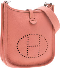 Hermes Rose Tea Clemence Leather Evelyne I TPM Bag with Palladium Hardware Very Good to Excellent Condition