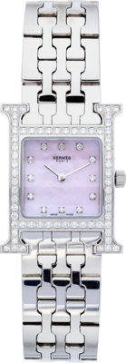 """Hermes Diamond & Stainless Steel H Hour PM Watch Excellent Condition .75"""" Width"""