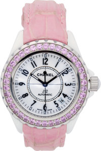 Chanel Automatic Pink Sapphire J12 Watch with Pink Crocodile Strap Very Good to Excellent Condition