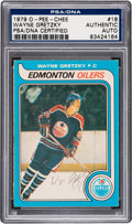 Autographs:Sports Cards, 1979 O-Pee-Chee Wayne Gretzky #18 Signed, PSA/DNA Authentic. ...