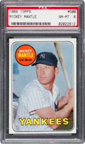 Baseball Cards:Singles (1960-1969), 1969 Topps Mickey Mantle, Yellow Letters #500 PSA NM-MT 8....