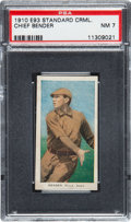 Baseball Cards:Singles (Pre-1930), 1910 E93 Standard Caramel Chief Bender PSA NM 7 - Pop Two, OneHigher. ...