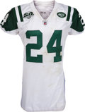 Football Collectibles:Uniforms, 2009 Darrelle Revis Game Worn, Unwashed New York Jets Playoff Jersey - Worn 1/17 Vs. Chargers. ...