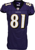 Football Collectibles:Uniforms, 2010 Anquan Boldin Game Worn, Unwashed Baltimore Ravens Jersey - NFL Auction LOA....