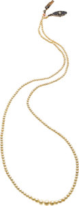 Estate Jewelry:Necklaces, Natural Pearl, Diamond, Sapphire, Platinum-Topped Gold Necklace....