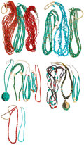 Estate Jewelry:Necklaces, Turquoise, Coral, Shell, Stone, Silver Necklace Lot. ... (Total: 16Items)