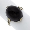 Estate Jewelry:Rings, Art Deco Black Onyx, Diamond, Platinum Ring. ...