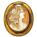 Estate Jewelry:Brooches - Pins, Victorian Shell Cameo, Gold Pendant-Brooch. ...
