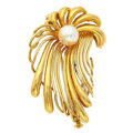 Estate Jewelry:Brooches - Pins, Cultured Pearl, Gold Brooch. ...